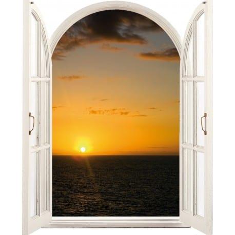 Sticker Fenêtre Couché de soleil