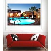 Affiche poster terasse vue sur la piscine