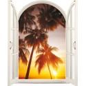 Sticker Fenêtre trompe l'oeil Palmier Couché de soleil
