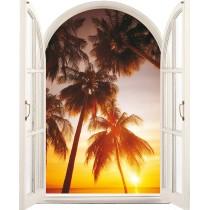 Sticker Fenêtre Palmier Couché de soleil