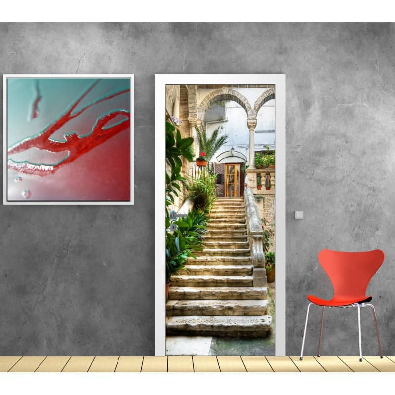 affiche poster porte escalier ext rieur art d co stickers. Black Bedroom Furniture Sets. Home Design Ideas