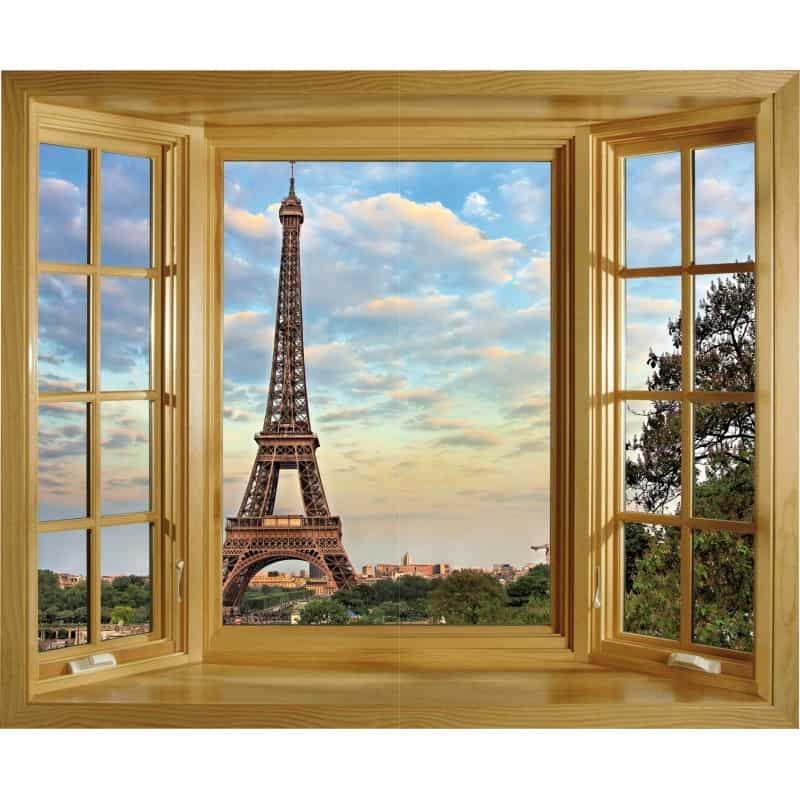 sticker fen tre tour eiffel art d co stickers. Black Bedroom Furniture Sets. Home Design Ideas