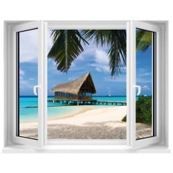 Sticker Fenêtre trompe l'oeil Maldives