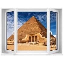Sticker Fenêtre trompe l'oeil Pyramide