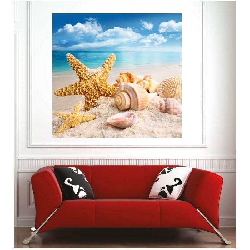 affiche poster toile de mer coquillages art d co stickers. Black Bedroom Furniture Sets. Home Design Ideas