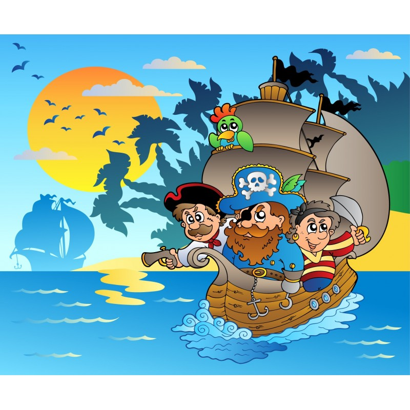 Stickers enfant g ant pirate art d co stickers - Sticker mural geant ...