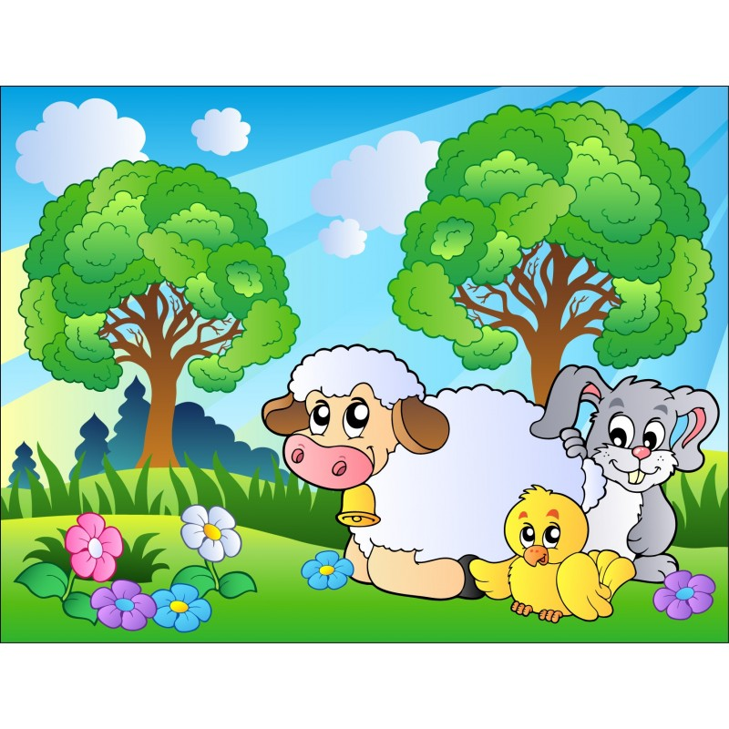 Stickers enfant g ant mouton lapin art d co stickers - Sticker mural geant ...