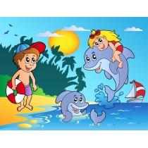 Stickers enfant géant Dauphins plage