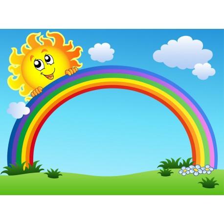 Stickers enfant g ant soleil arc en ciel art d co stickers - Image arc en ciel gratuite ...