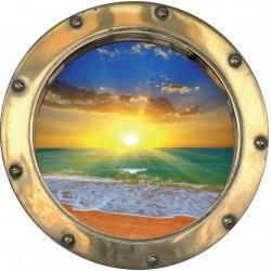 Sticker hublot trompe l'oeil Couché de soleil