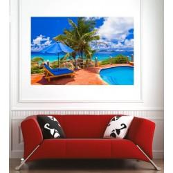 Affiche poster plage cocotier transat