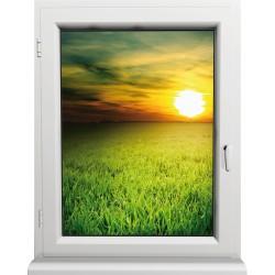 Sticker Fenêtre Prairie Couché de Soleil
