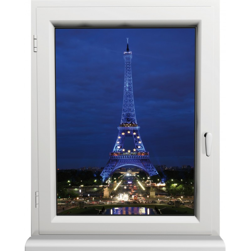 sticker fen tre paris la nuit art d co stickers. Black Bedroom Furniture Sets. Home Design Ideas