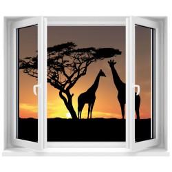 Sticker Fenêtre trompe l'oeil Safari Girafe