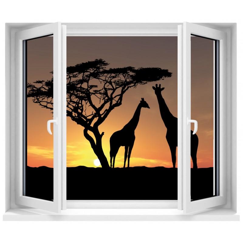Sticker fen tre trompe l 39 oeil safari girafe art d co for Sticker fenetre