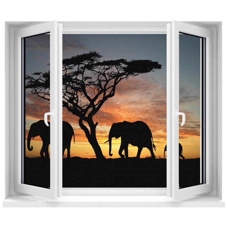 sticker fen tre safari el phants art d co stickers. Black Bedroom Furniture Sets. Home Design Ideas
