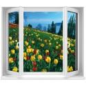 Sticker Fenêtre Fleurs Tulipes