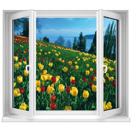 Sticker Fenêtre Fleurs