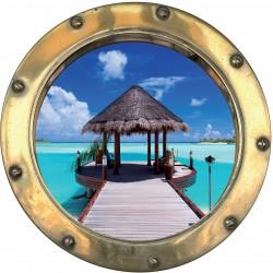 Sticker hublot trompe l'oeil Les Maldives