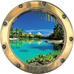Sticker hublot trompe l'oeil Les Tropiques