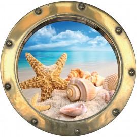 Sticker hublot trompe l'oeil Etoile de mer