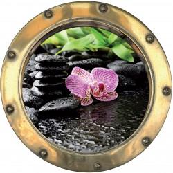 Sticker hublot trompe l'oeil Orchidée