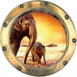 Sticker hublot trompe l'oeil Eléphants