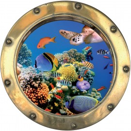 Sticker hublot trompe l'oeil Poissons tortue