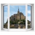 Sticker Fenêtre trompe l'oeil Mont St Michel