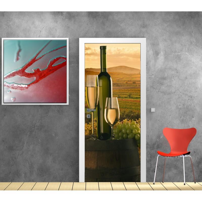 papier peint porte d co vin blanc art d co stickers. Black Bedroom Furniture Sets. Home Design Ideas