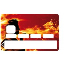 2 Stickers Autocollants Skin Carte de Crédit CB Flammes