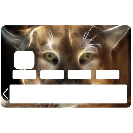 2 Stickers Autocollants Skin Carte de Crédit CB Lynx