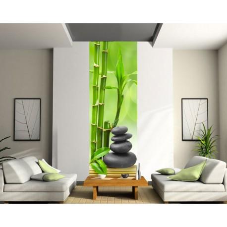 Papier peint lé unique Bambous Galets