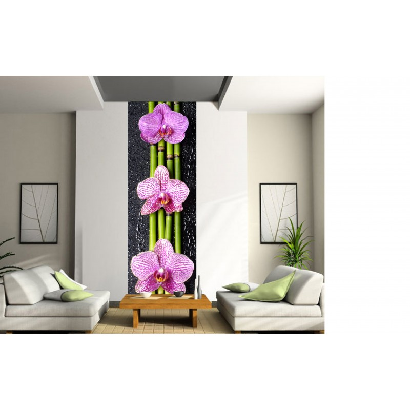papier peint l unique bambous orchid es art d co stickers. Black Bedroom Furniture Sets. Home Design Ideas