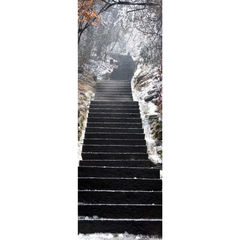 Papier peint l unique escalier neige art d co stickers - Papier peint escalier ...