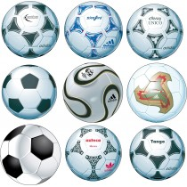 Stickers 9 Ballons de Foot 25x25cm
