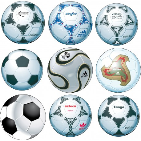 Stickers 9 Ballons de Foot 25x25cm