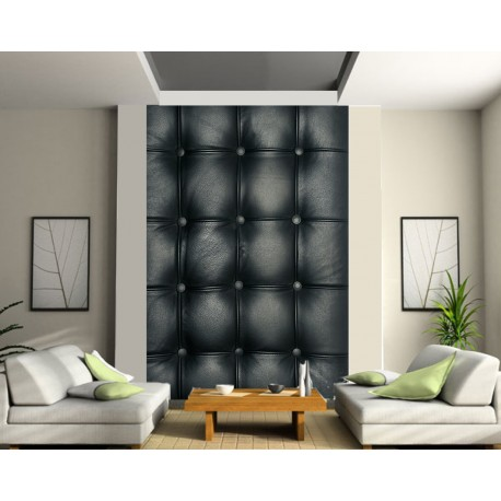 papier peint g ant capitonn noir art d co stickers. Black Bedroom Furniture Sets. Home Design Ideas