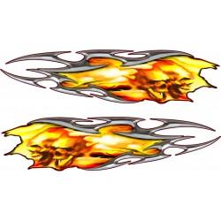 2 Stickers Flaming Tuning Skull