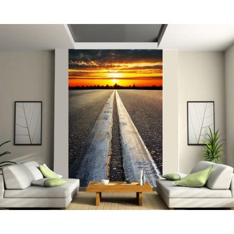 papier peint g ant route art d co stickers. Black Bedroom Furniture Sets. Home Design Ideas
