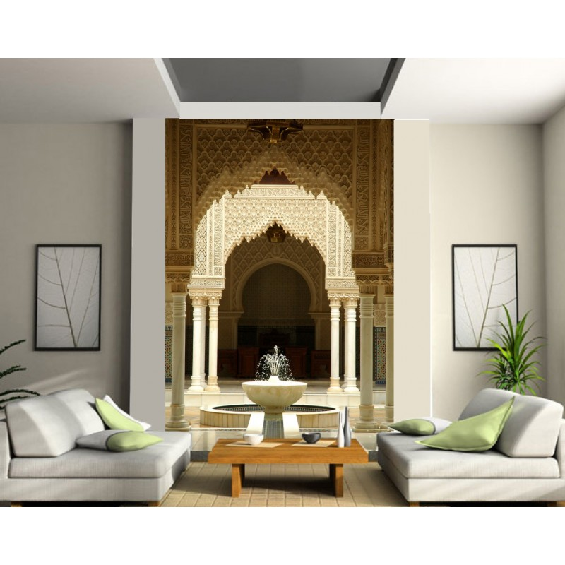 papier peint g ant fontaine orient art d co stickers. Black Bedroom Furniture Sets. Home Design Ideas