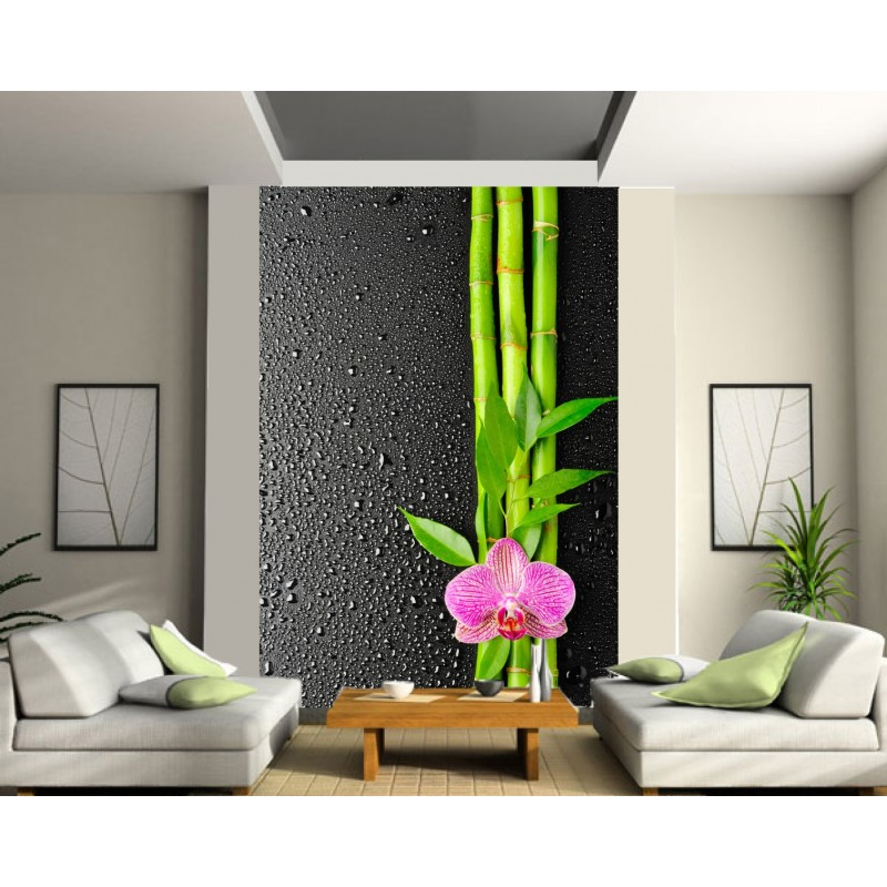 papier peint g ant orchid e bambous art d co stickers. Black Bedroom Furniture Sets. Home Design Ideas