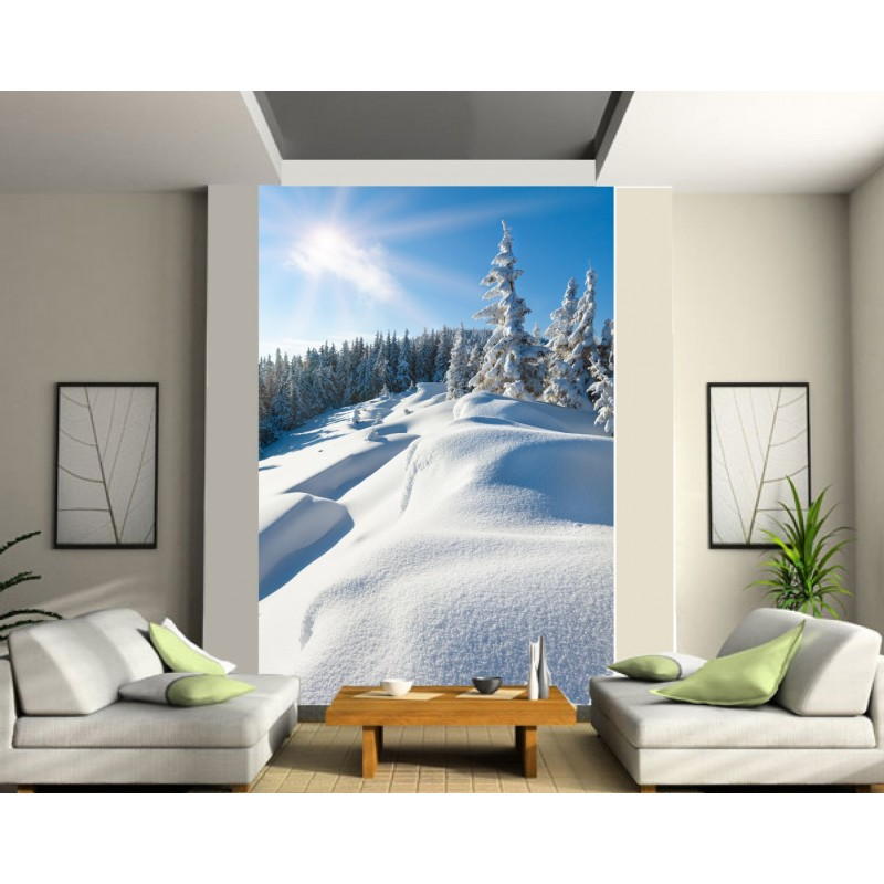 papier peint g ant montagne neige art d co stickers. Black Bedroom Furniture Sets. Home Design Ideas