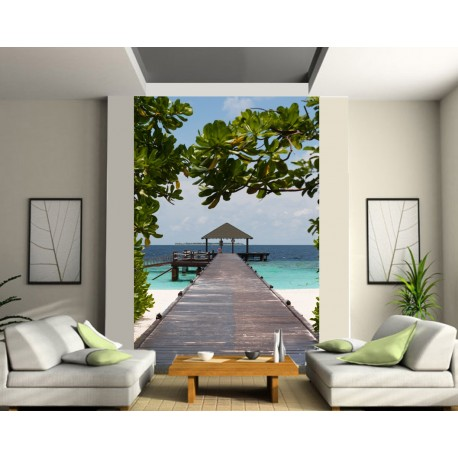 papier peint g ant maldives art d co stickers. Black Bedroom Furniture Sets. Home Design Ideas