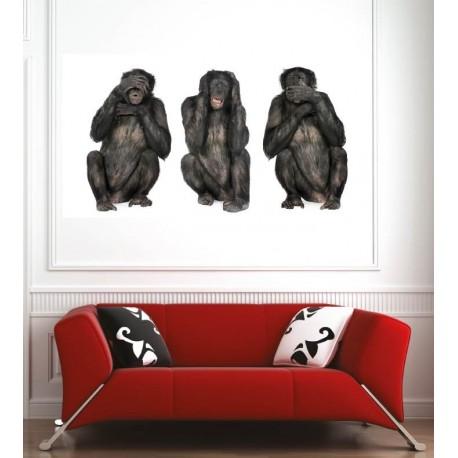 Affiche Poster Singes De La Sagesse - Art Déco Stickers
