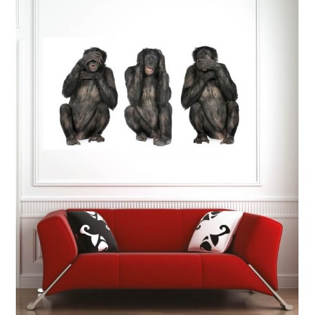 affiche poster singes de la sagesse art d co stickers. Black Bedroom Furniture Sets. Home Design Ideas