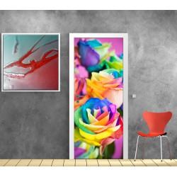 Stickers porte Fleurs couleur