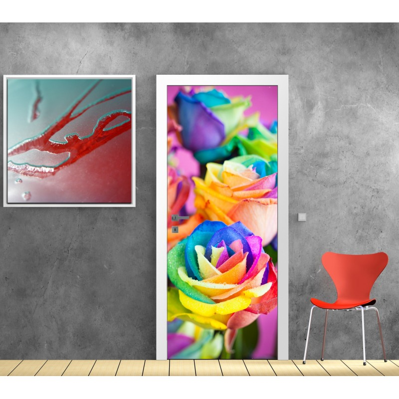 stickers porte fleurs couleur art d co stickers. Black Bedroom Furniture Sets. Home Design Ideas