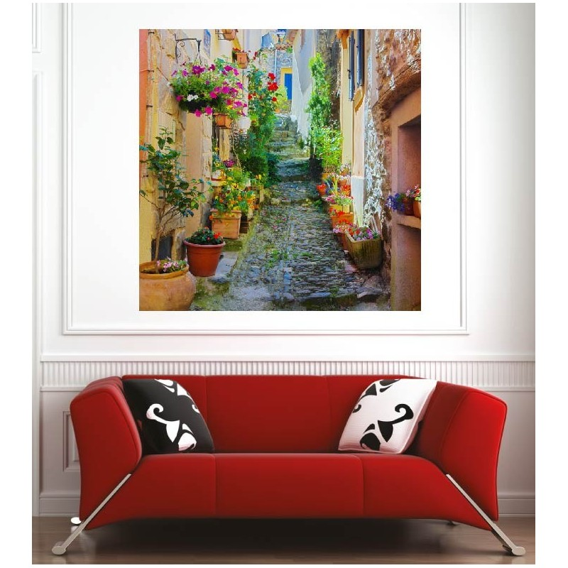 affiche poster ruelle fleurie art d co stickers. Black Bedroom Furniture Sets. Home Design Ideas