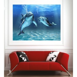 Affiche poster dauphins vue sous marine